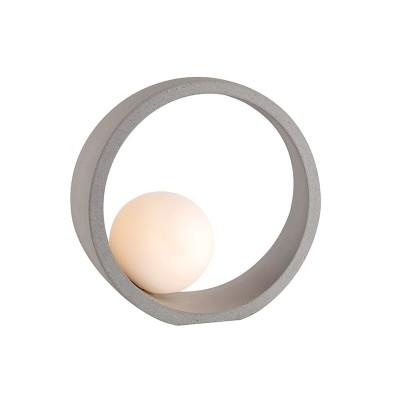 Στρογγυλό πορτατίφ Ø24cm από τσιμέντο με λευκό γυάλινο γλομπάκι