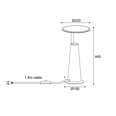 Επιτραπέζια λάμπα LED 3000K τσιμεντένια ύψους 45cm