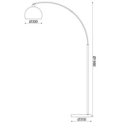 Μοντέρνο φωτιστικό δαπέδου 193cm με λευκή μαρμάρινη βάση