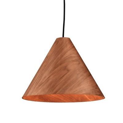 Κρεμαστό φωτιστικό κωνικό με ξύλινο καπέλο Ø33cm