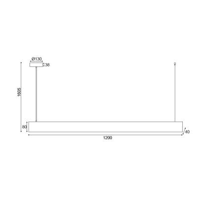 Κρεμαστό φωτιστικό LED ξύλινο 120cm ορθογώνιο