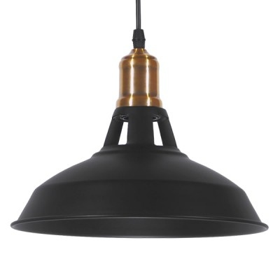 Vintage industrial κρεμαστό φωτιστικό μονόφωτο μαύρο μεταλλικό καμπάνα Φ28cm