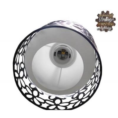 Κρεμαστό φωτιστικό 62cm τρίφωτο μαύρο μεταλλικό πλέγμα με λευκό γυαλί