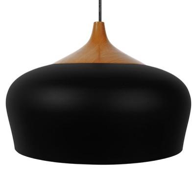 Μοντέρνα μαύρη μεταλλική καμπάνα Φ40cm με ξύλινη λεπτομέρεια