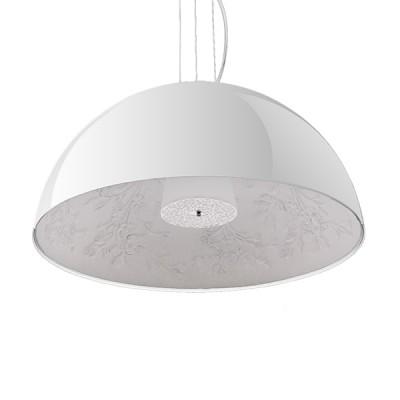 Μοντέρνο Κρεμαστό Φωτιστικό Μονόφωτο Λευκό Γύψινο Καμπάνα Ø60cm