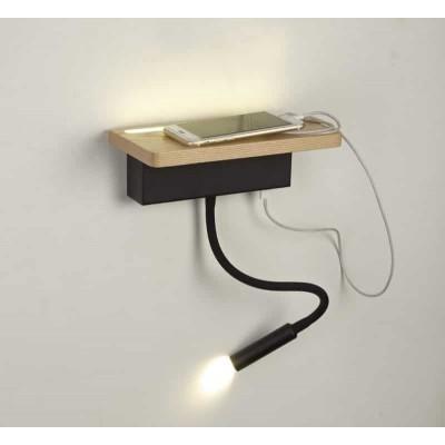 Απλίκα reading από μέταλλο και ξύλο με USB θύρα