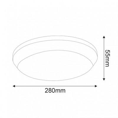Λευκό στεγανό φωτιστικό οροφής Ø28cm LED
