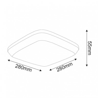 Στεγανή λευκή πλαφονιέρα 28x28cm LED