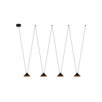 Τετράφωτο κρεμαστό φωτιστικό LED με τριγωνικές καμπάνες Ø21cm