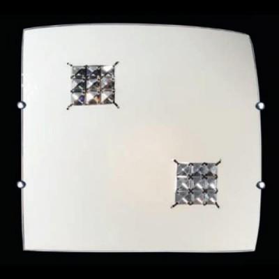 Δίφωτη πλαφονιέρα οροφής 30x30cm με κρυστάλλινες λεπτομέρειες