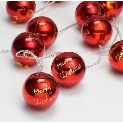 Κόκκινες μπάλες merry christmas σε διάφανο καλώδιο 135cm με μπαταρίες