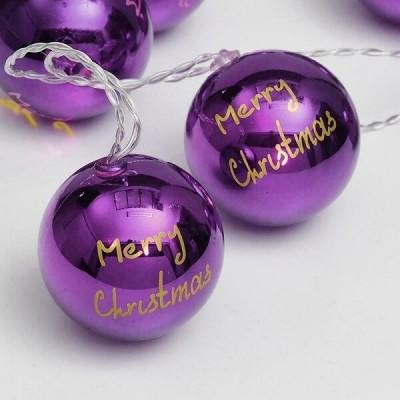 Μωβ μπάλες merry christmas σε διάφανο καλώδιο 135cm με μπαταρίες