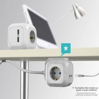 Πολύμπριζο USB 2 θέσεων και σούκο 4 θέσεων κύβος