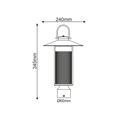 Στεγανό φωτιστικό ιστού Ø6cm φανάρι με σκιάδιο