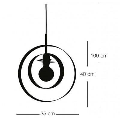 Μονόφωτο κρεμαστό Ø35cm με δύο μεταλλικά στεφάνια