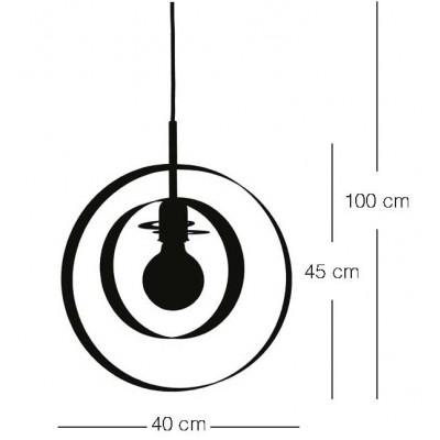 Μονόφωτο κρεμαστό Ø40cm με δύο μεταλλικά στεφάνια