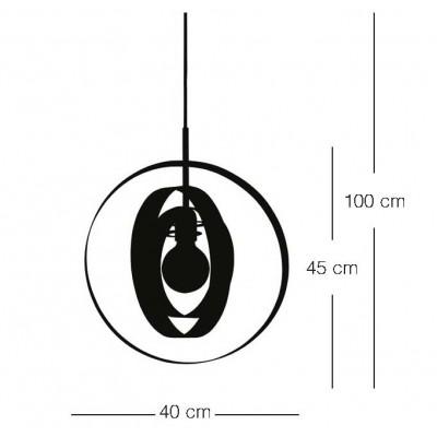 Μονόφωτο κρεμαστό Ø40cm με τρία μεταλλικά στεφάνια