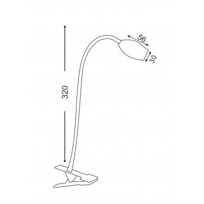 Φωτιστικό γραφείου LED 32cm με κλιπ τοποθέτησης