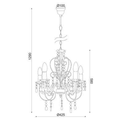 Elegant πεντάφωτος πολυέλαιος με ακρυλική διακόσμηση ACA