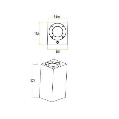 Στεγανή απλίκα GU10 UP&Down 18x10cm τσιμεντένια