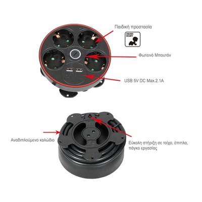 Μαύρο κυκλικό πολύμπριζο USB-Σούκο