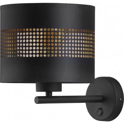 Μαύρο-χρυσό φωτιστικό τοίχου με τρυπητό αμπαζούρ Ø20cm