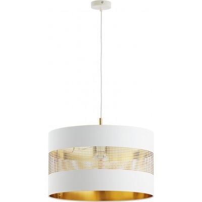 Λευκό-χρυσό κρεμαστό φωτιστικό Ø50 με τρυπητό σχέδιο