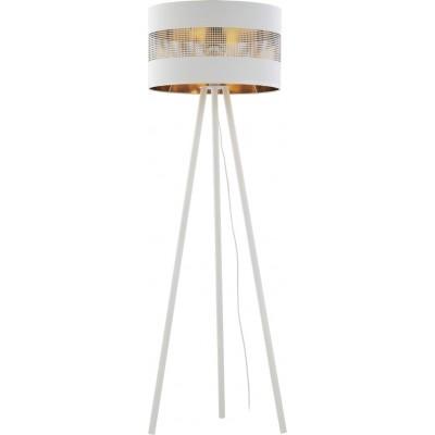 Λευκό-χρυσό φωτιστικό δαπέδου 145cm με τρυπητό αμπαζούρ Ø50cm
