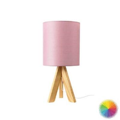 Πορτατίφ κομοδίνου ξύλινο με υφασμάτινο καπέλο Ø18x40cm