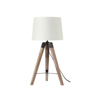 Ξύλινο τρίποδο επιτραπέζιο φωτιστικό με αμπαζούρ Ø30cm