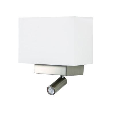 Απλίκα Reading με ορθογώνιο λευκό αμπαζούρ και δύο διακόπτες LED-E27