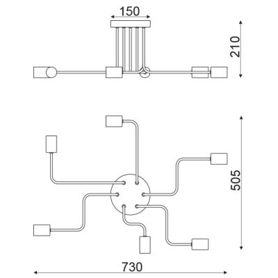 Vintage φωτιστικό ημιοροφής ασύμμετρο ACA