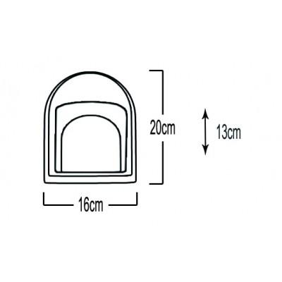 Στεγανή απλίκα 16x20cm από αλουμίνιο και γυαλί με γραμμώσεις
