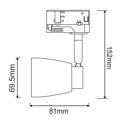 Τριφασικό σποτ ράγας Ø7x8cm GU10 με οπάλ γυάλινη κεφαλή
