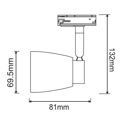 Μονοφασικό σποτ ράγας Ø7x8cm με ρυθμιζόμενο βραχίονα και γυάλινη κεφαλή