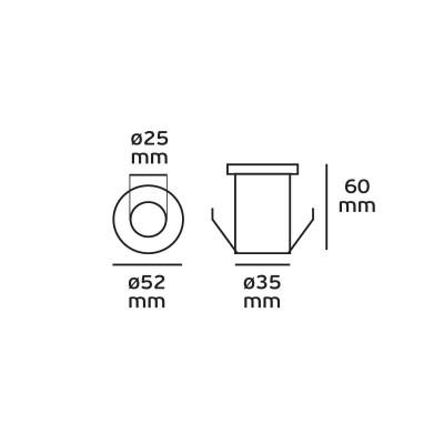 Xωνευτό σποτ inox Ø5cm LED
