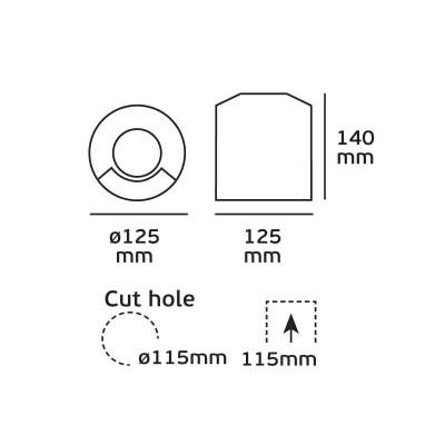 Χωνευτό σποτ Ø12cm δέσμης 110⁰