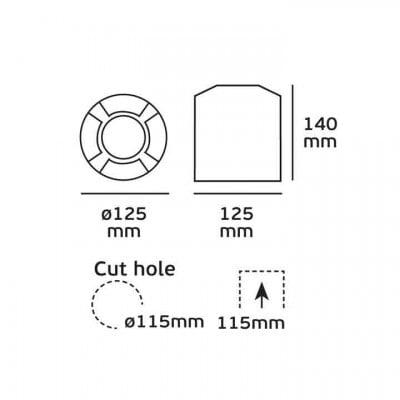 Χωνευτό σποτ Ø12cm τετραπλής δέσμης
