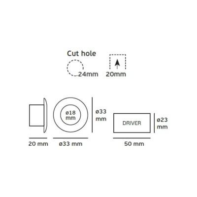 Λευκό χωνευτό σποτ Ø3.3cm με τρύπα κοπής Ø2.4cm LED 1W