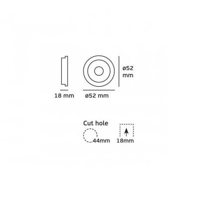 Κινητό  χωνευτό σποτ Ø5.2cm με τρύπα κοπής Ø4.4cm LED 3W