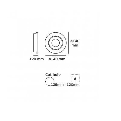 Κινητό χωνευτό σποτ Ø14cm λευκό LED 20W