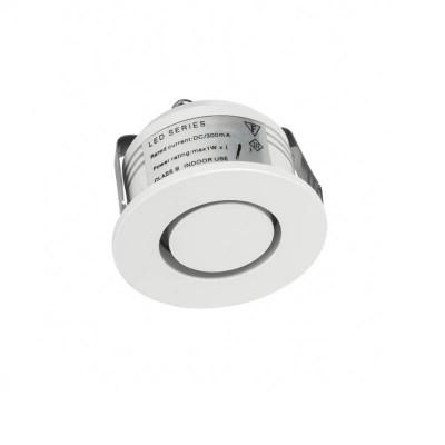 Λευκό ματ χωνευτό σποτ Ø4cm με τρύπα κοπής Ø3.5m LED 1W 3000K
