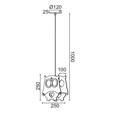 Παιδικό κρεμαστό φωτιστικό κουκουβάγια Ø25cm